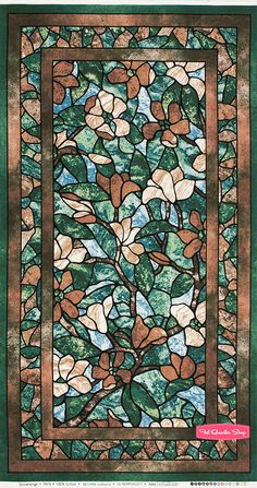 Stonehenge Jade Stained Glass Magnolia Quilt Panel SKU# 3979-139 - Fat Quarter Shop