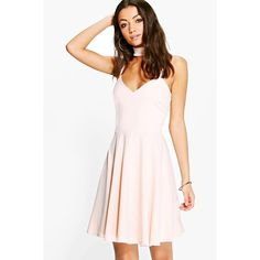 Boohoo Tall Tall Sadie Detachable Choker Strappy Skater Dress ($35) ❤ liked on Polyvore featuring dresses, blush, sequined dresses, sequin party dresses, sequin maxi dress, pink maxi dress and tall maxi dresses