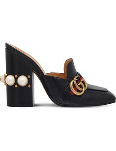 GUCCI Peyton 110 leather embellished mules
