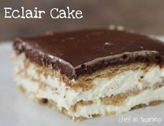NO-BAKE ECLAIR CAKE! One of my most requested dessert recipes when I go anywhere! It has been in my family for YEARS and is seriously one of the easiest and tastiest desserts out there! http://www.chef-in-training.com/2010/08/eclair-cake/