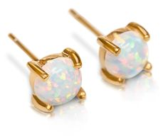 AmazonSmile: Stud Earrings Opal 14k Gold Dipped 6mm White Fire Opal Womens Stainless Steel Pair by Benevolence LA: Jewelry