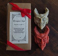 Whether as a stocking stuffer for the naughty person in your life, or a creepy cleansing buddy, Krampus soap is guaranteed to get noticed!Krampus is a mythical figure in the Alpine regions of Europe who accompanies Saint Nicholas, only instead of rewarding children with gifts he dispenses punishment and terrifies wicked boys and girls. Exceptionally naughty children may find themselves whipped with switches and stuffed into his sack to be devoured later. Krampus appears as a Sat...