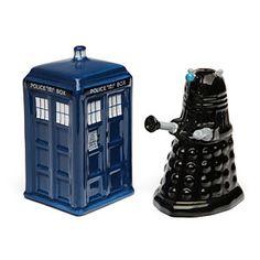 ThinkGeek :: Doctor Who TARDIS vs. Dalek Salt and Pepper Shakers