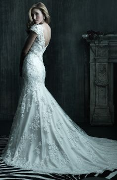 All lace gown with rhinestone and pearl detailing. Gorgeous.