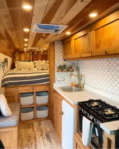 Connecting Sprinter Van People on This sure feels like home! Love all of the storage and warm touches in this Sprinter Van conversion belonging to lightravelers. Show Van Conversion Interior, Camper Van Conversion Diy, Van Interior, Interior Design, Van Conversion Wood, Van Conversion Kitchen, Bathroom Interior, Sprinter Van Conversion, Ford Transit Conversion