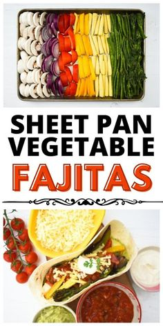 Sheet pan vegetable fajitas - The perfect Tex-Mex sheet pan dinner. A simple way to prepare your vegetables for Mexican fajitas in the oven for maximum flavour, plus recommended tortillas and toppings. #sheetpandinners #veganfajitas #vegetarianfajitas #fajitas #vegetablefajitas #veganmexicanrecipes #vegetarianmexicanrecipes #vegantexmex Vegan Fajitas, Vegetarian Fajitas, Vegetarian Mexican Recipes, Vegetarian Food, Vegan Food, Vegetable Pasta Bake, Roasted Vegetable Pasta, Vegetable Recipes, Roasted Vegetables