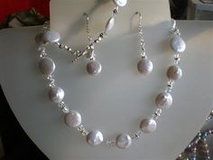 """Handmade Necklace Set Using FW Pearl, Swarovski Crystals & Sterling SIlver...3pc set $75.00 Necklace 17"""" Bracelet 7"""". Can take Custom Orders!"""