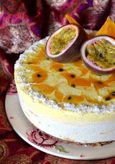 Raw Vegan White Chocolate, Mango and Passion Fruit Cheesecake
