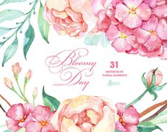 Bloomy Day: 31 Floral Elements hydrangea peonies watercolor