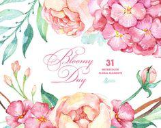 Bloomy Tag: 31 Floral Elements, Hortensien, Pfingstrosen, Aquarell Blumen, Hochzeitseinladung, Grußkarte, diy ClipArt, Minze und pink