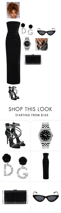 """""""Untitled #52"""" by renyawhite20004 ❤ liked on Polyvore featuring Giuseppe Zanotti, Rolex, Dolce&Gabbana, Rasario, Edie Parker, Le Specs, redcarpetstyle and OscarsThrowback"""
