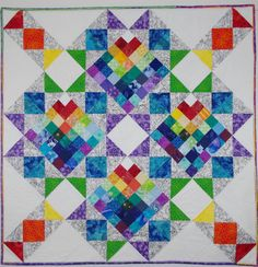 Star Rainbow Quilted Wall Hanging Patchwork by MoranArtandQuilts