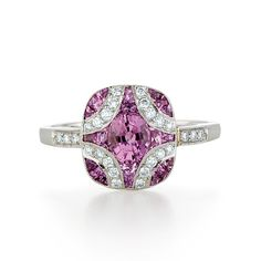 Brides.com: Pink Engagement Rings. Style 28004P, 1.26 carats of pink sapphire and diamond set in 18kt white gold, $3,900, Kwiat  See more cushion-cut engagement rings.