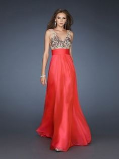 A-line V-neck Floor-Length Chiffon Evening Gown With Rhinestone