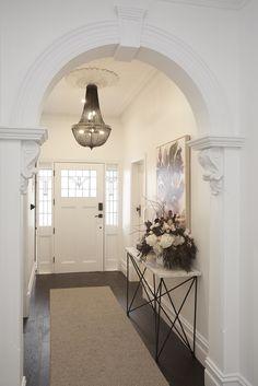 The Block Hallway & Laundry Reveals – Decorating Foyer Entrance Lighting, Stair Lighting, Hallway Lighting, Lighting Ideas, Lighting Design, Modern Hallway, Entry Hallway, Dark Hallway, Upstairs Hallway