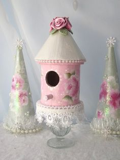 BIRDHOUSE Shabby Cottage Hand Painted by RoseChicFriends on Etsy, $14.99