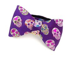 Purple Skull Bowtie - Mens Bow Tie -  Day of the Dead Sugar Skull - Pure Silk - Dia De Los Muertos - Halloween Wedding on Etsy, $103.56