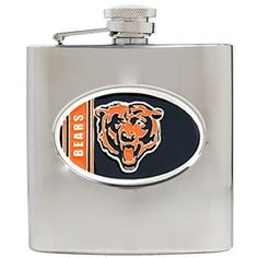BSS - Chicago Bears NFL 6oz Stainless Steel Hip Flask . $48.06. BSS - Chicago Bears NFL 6oz Stainless Steel Hip Flask This Officially Licensed flask is decorated in the team colors and proudly displays hand-crafted metal emblem featuring the Team Logo.