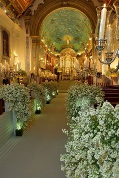Wedding decorations flowers church candles New ideas Wedding Church Aisle, Church Wedding Decorations, Ceremony Decorations, Wedding Centerpieces, Church Candles, February Wedding, Church Flowers, White Wedding Flowers, Indoor Wedding