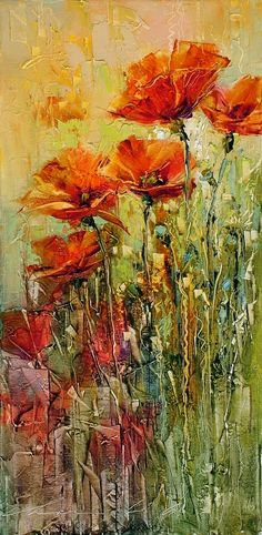 Meadow of poppies - Andras Manajlo hungarian painter