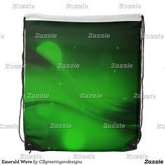 Emerald Wave Drawstring Bag
