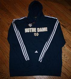 NWT NOTRE DAME ADIDAS HOODIE pullover SEWN Sweatshirt-2XL-NEW-Football-FREE SHIP