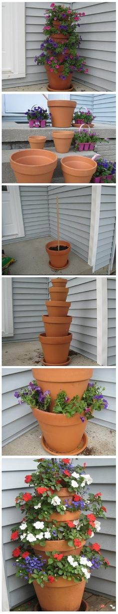 DIY Terra Cotta Pot Flower Tower with Annuals