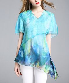 Another great find on #zulily! Aqua Abstract V-Neck Asymmetrical Top - Plus Too #zulilyfinds