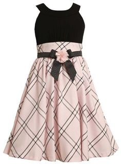 Size-7, Pink, BNJ-8618R, Pink and Black Knit to Plaid Linen Dress,Bonnie Jean Tween Girls Special Occasion Flower Girl Party Dress Bonnie Jean,http://www.amazon.com/dp/B00BKULV8O/ref=cm_sw_r_pi_dp_2.N1rb16WAR966C0