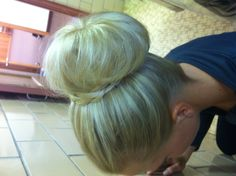 Wedding hair....sock bun with wrap-around braid.  Perfect and simple for bridesmaids.