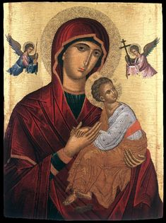 High quality hand-painted Orthodox icon of Virgin of Perpetual Succour (Cretan). BlessedMart offers Religious icons in old Byzantine, Greek, Russian and Catholic style. Religious Images, Religious Icons, Religious Art, Byzantine Icons, Byzantine Art, Madonna, Architecture Religieuse, Paint Icon, Images Of Mary