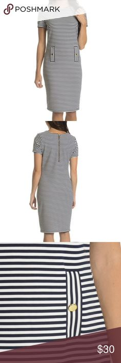 🆕 Horizontal Stripe Short-sleeve Coral Dress Turn heads in this chic horizontal-striped dress. Featuring a convenient back zipper closure and a relaxed round-neck style , this pullover dress has a touch of spandex for a forgiving fit.  Lining: Unlined Closure: Zipper Sleeve-length: Short Sleeve Material: Polyester, Spandex Style: Sheath Neck Style: Round Neck Dress Length: Knee-Length Care Instruction: Machine Wash Exact Color: White, Electric Coral Size: S Nina Leonard Dresses Midi