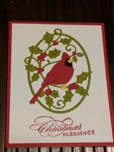Cottage Cutz Holiday Cardinal Die Pink Christmas, Christmas And New Year, Christmas Cards, Winter Cards, Red Berries, I Card, Projects To Try, Card Making, Paper Crafts