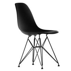 Vitra - Eames Plastic Side Chair DSR, schwarz / basic dark, Filzgleiter, EinzelAbbildung