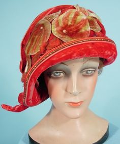 1925 red velvet cloche with appliqued leaves.-Antiquedress
