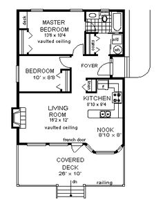 First Floor Plan of Narrow Lot   Ranch   House Plan 58704- again, knock down this first bedroom's wall and add an outdoor shower!  This is SC foothills; red mud.