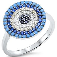 Evil Eye Design Ring Round Simulated Nano Turquoise Simulated Sapphire CZ 925 Sterling Silver