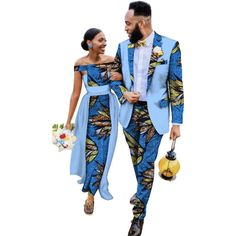 African Couples Matching Clothing Dashiki blazer-pants and Dress Wedding Set
