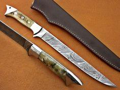 Custom Handmade Damascus Steel Fillet Fish Knife With Leather Sheath Damascus Knife, Damascus Steel, Skinning Knife, Fish Knife, Fillet Knife, Bushcraft Knives, Handmade Knives, Custom Knives, Stitching Leather