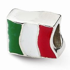 Sterling Silver Italy Flag Bead