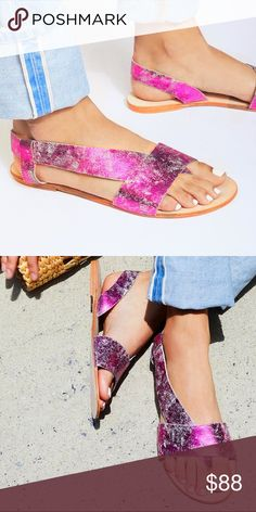 FREE PEOPLE Metallic Frankie SANDALS Leather Flat BRAND NEW in BOX!! A trendy + wide cross-strap puts the gorgeously detailed + distressed metallic leather of these casual slip on sandals on full display. All leather + meticulously-crafted, these pair perfectly with cropped skinnys or cuffed boyfriend jeans. Size: 9.5/10 (US)  [40 (EUR)]. Retail: $188.00  🌟🌟BRAND NEW in BOX!!🌟🌟 Free People Shoes Sandals
