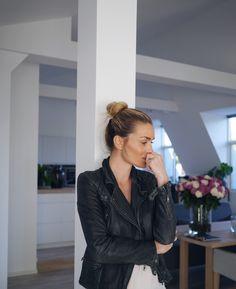 Style...Camilla Pihl // Scandi style // leather jacket look
