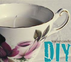Melt wax into an antique teacup