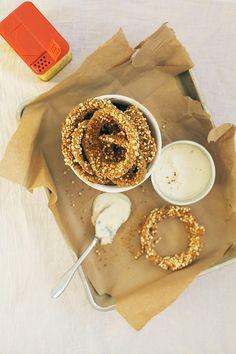 Quinoa baked onion rings with horseradish dip.