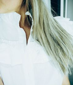 Frill Blouse, Shirt Blouses, Shirts, No Frills, My Outfit, Long Hair Styles, Outfits, Clothes, Beauty
