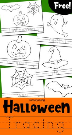 FREE Halloween themed tracing and coloring pages for kids to practice fine motor skills and handwriting. Kids can trace a picture and a word, then color everything in. Great Halloween activity for preschool and kindergarten kids.