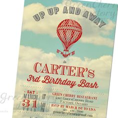 Vintage Hot Air Balloon Birthday Invitation - Up Up and Away - Vintage Old Sky - ANY COLORS - Printable Invite No.575
