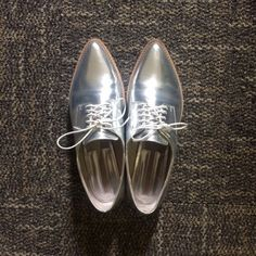 Zara Holographic Oxfords worn less than 5x. Condition as in photos. Size is 38, fits probably a 7.5-8. Zara Shoes Flats & Loafers