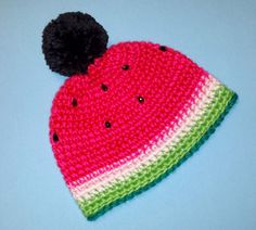 Watermelon PomPom Beanie - Bright Pink & Red Crocheted Fruit Themed Beanie w/ Rhinestone Seeds - Handmade Winter Kawaii Fashion by pinkavenger on Etsy