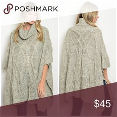 Gray Cowl Neck Sweater 90% acrylic 5% nylon 5% wool 3/4 sleeve oversized chunky poncho with a cowl neckline. Sweaters Shrugs & Ponchos
